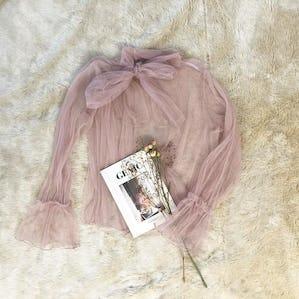 ribbon seethrough blouse