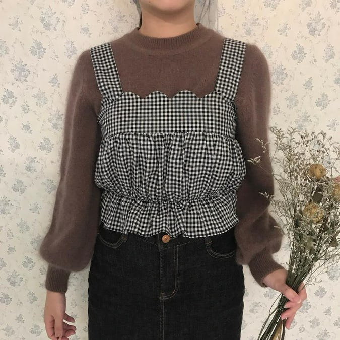 gingham scallop bustier