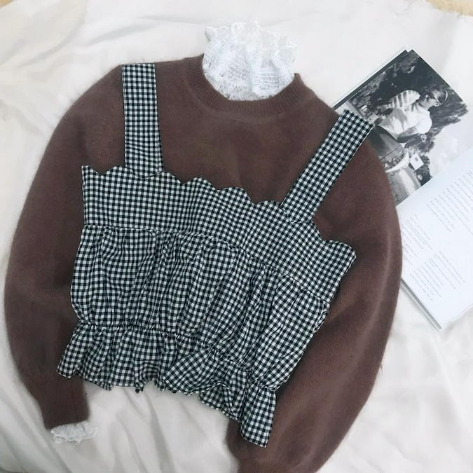 gingham scallop bustier-0