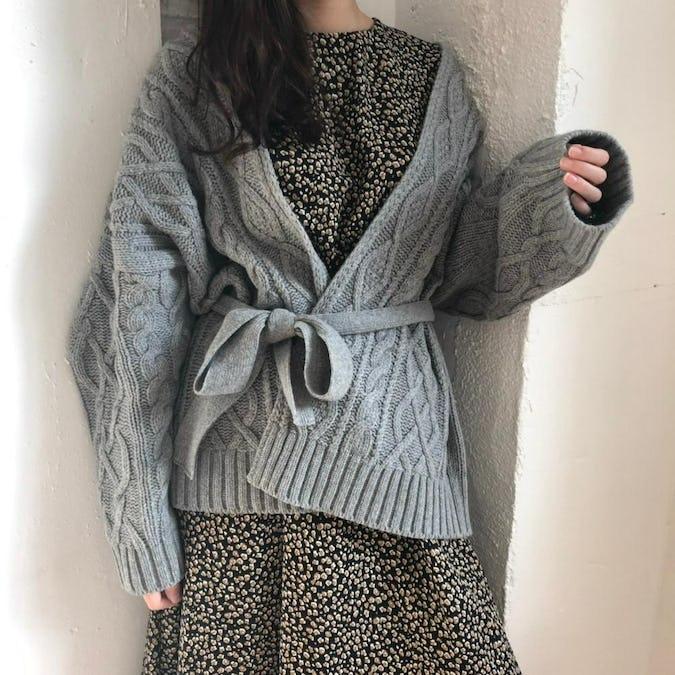 ribbon knit cardigan-0