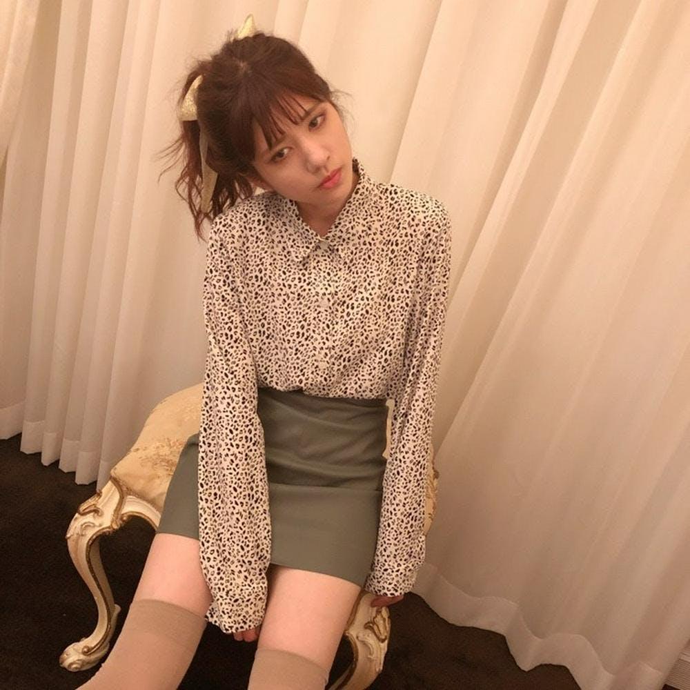 leather mini skirt-0