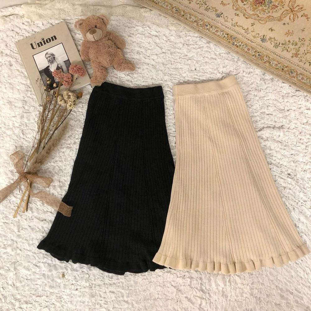 frill knit long sk