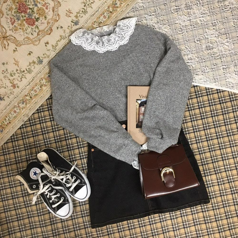 lace neck knit