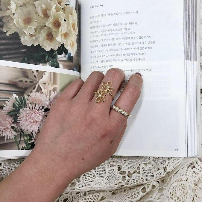 girly flower ring set
