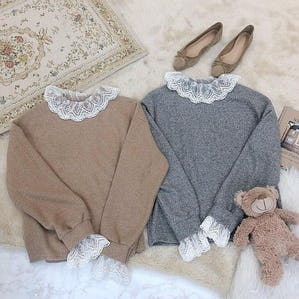 lace neck knit