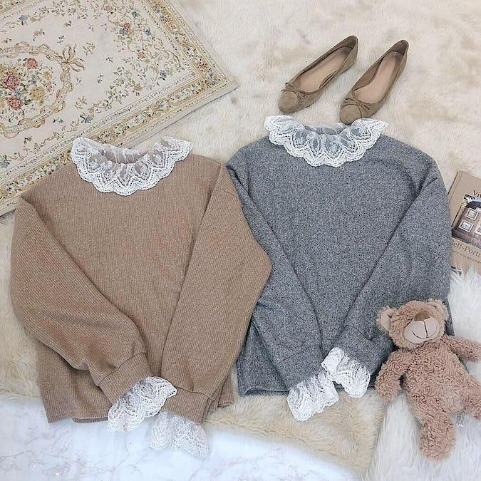 lace neck knit-0
