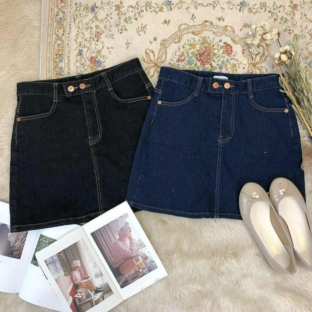 french girl denim skirt