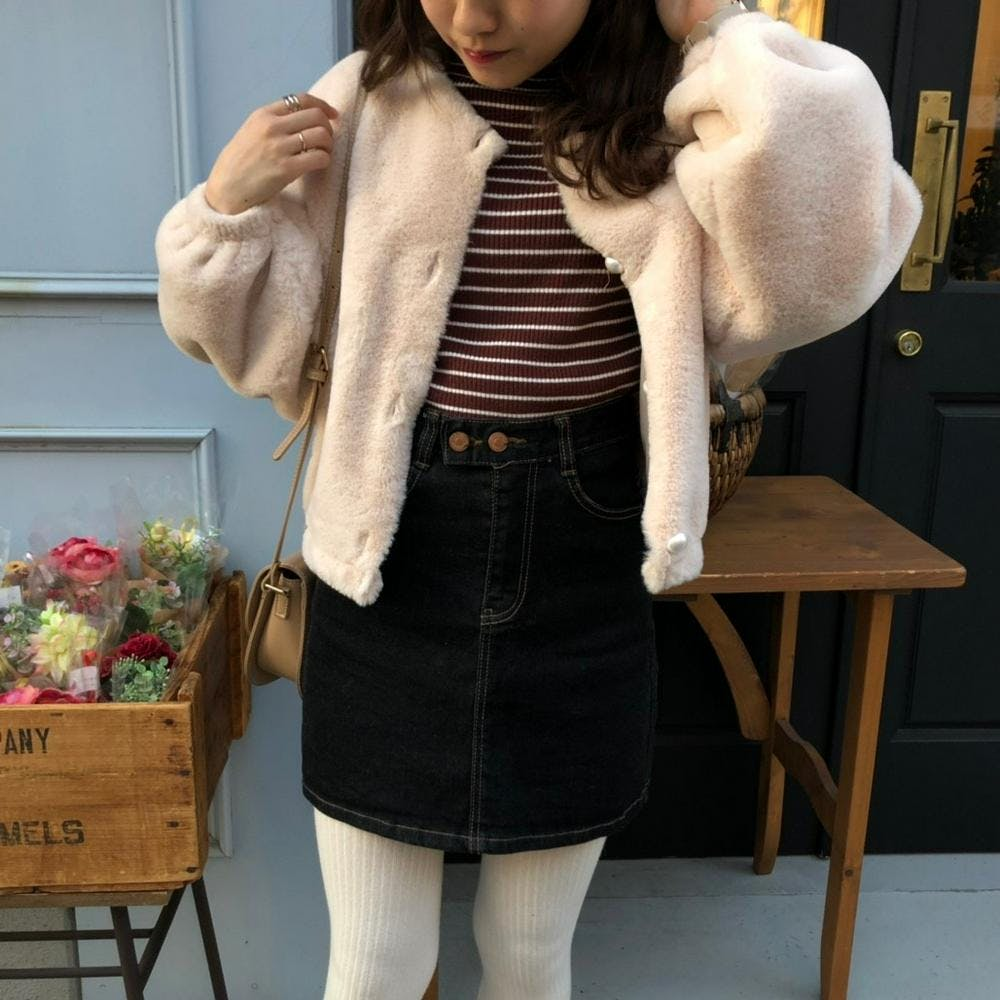 french girl denim skirt-0