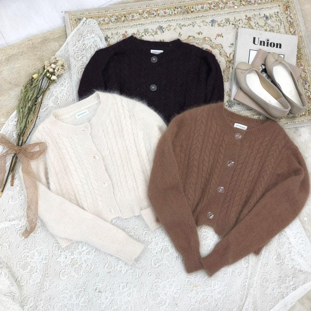 mohair knit cardigan-0