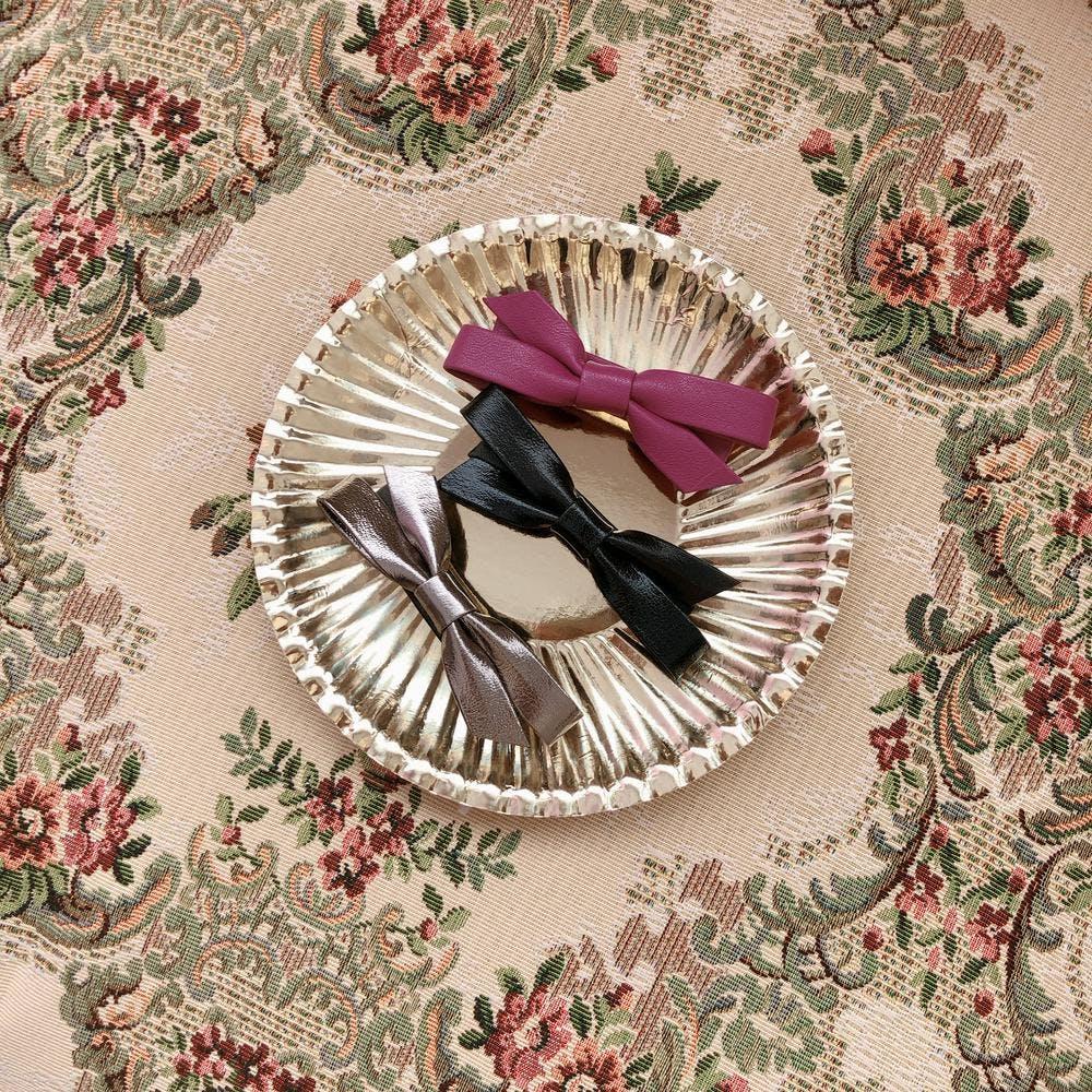 leather ribbon barrette-0