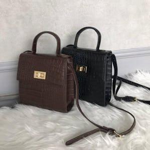 croco leather square bag