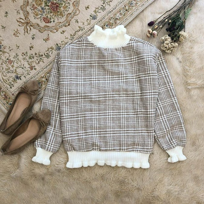 gingham check knit-0