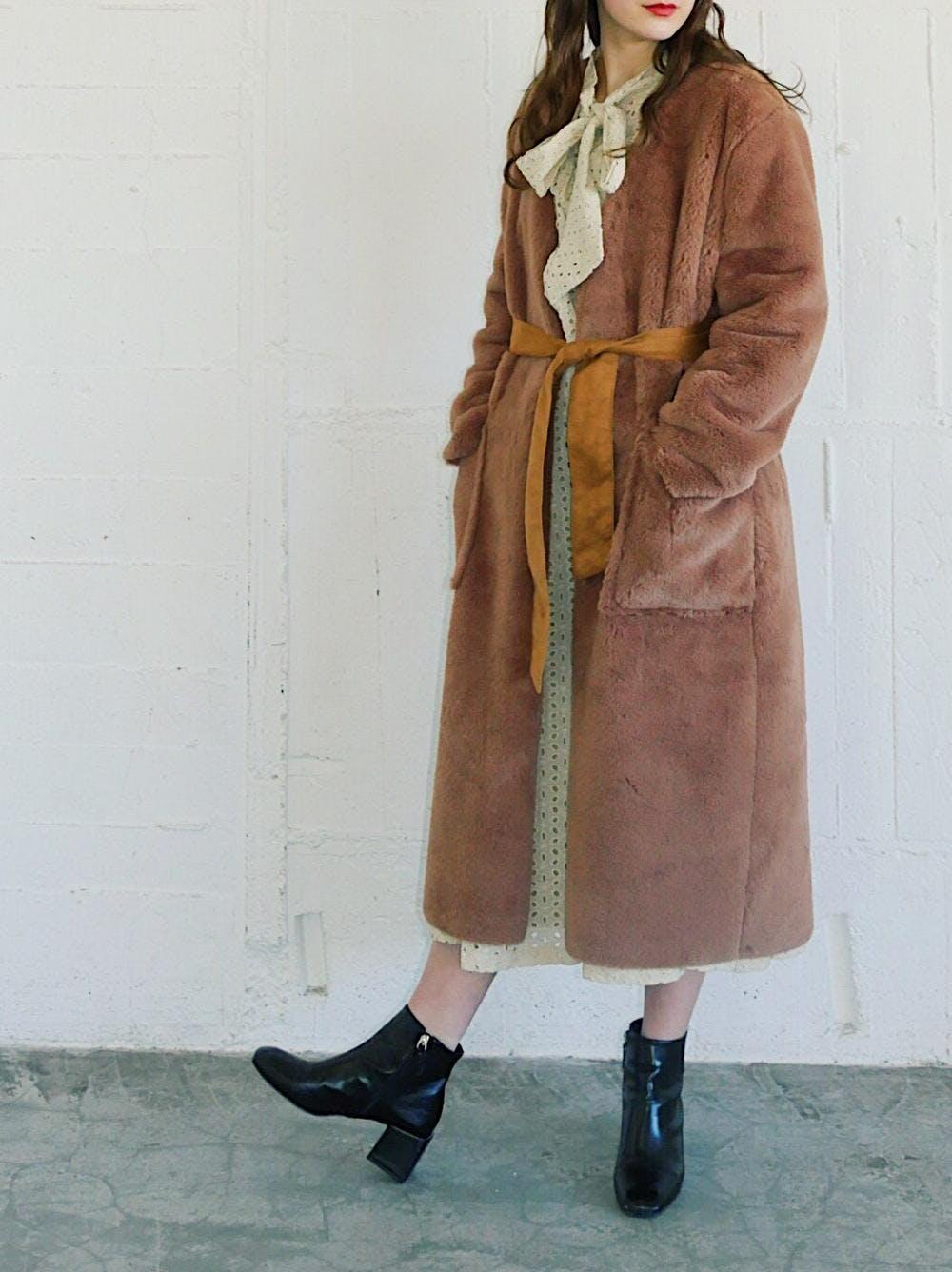 caramel fur coat