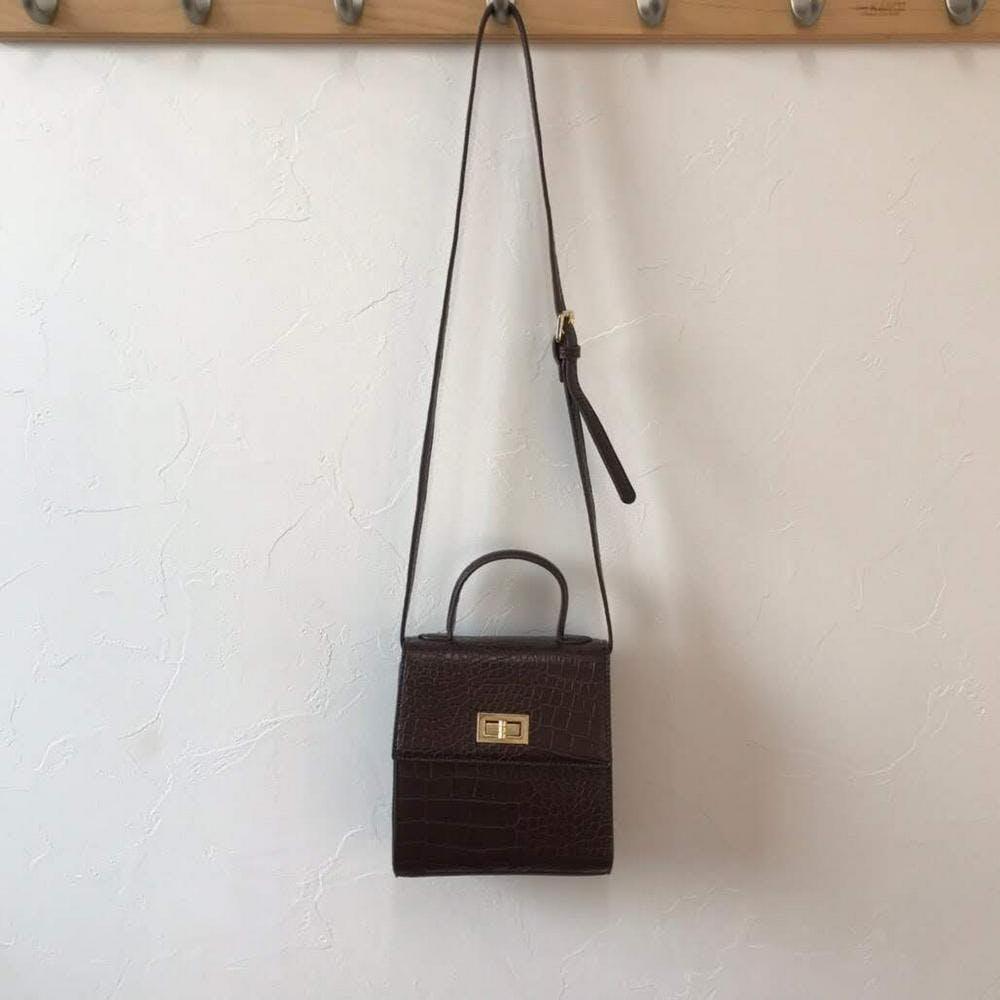 croco leather square bag-0