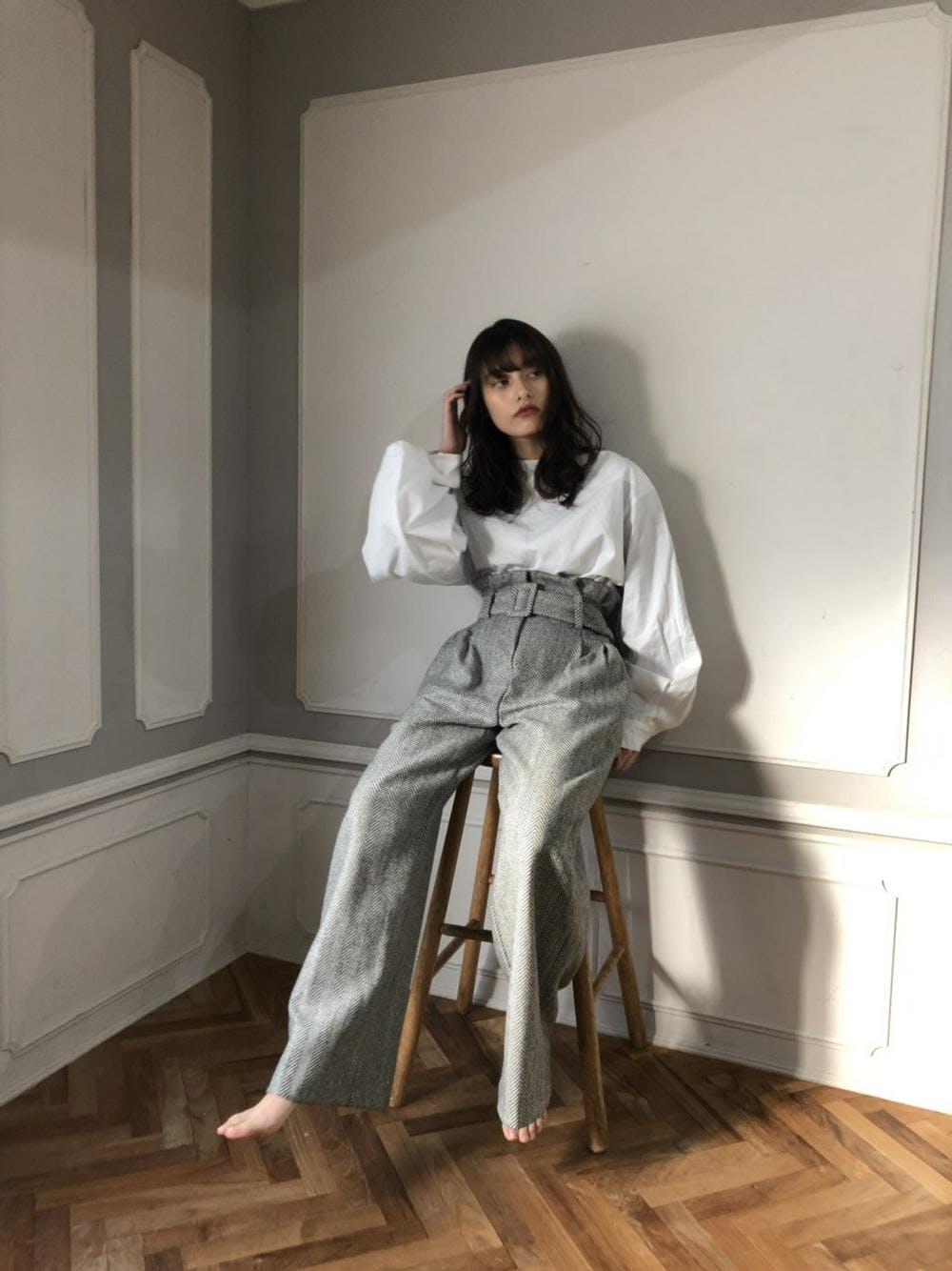 high-waist tweed pants