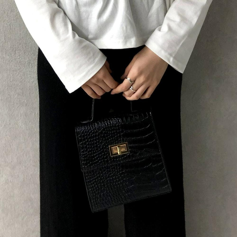 croco leather square bag