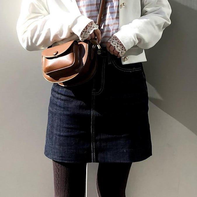 basic denim skirt-0