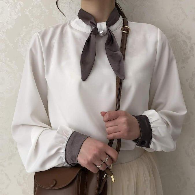 bicolor ribbon satin blouse-0