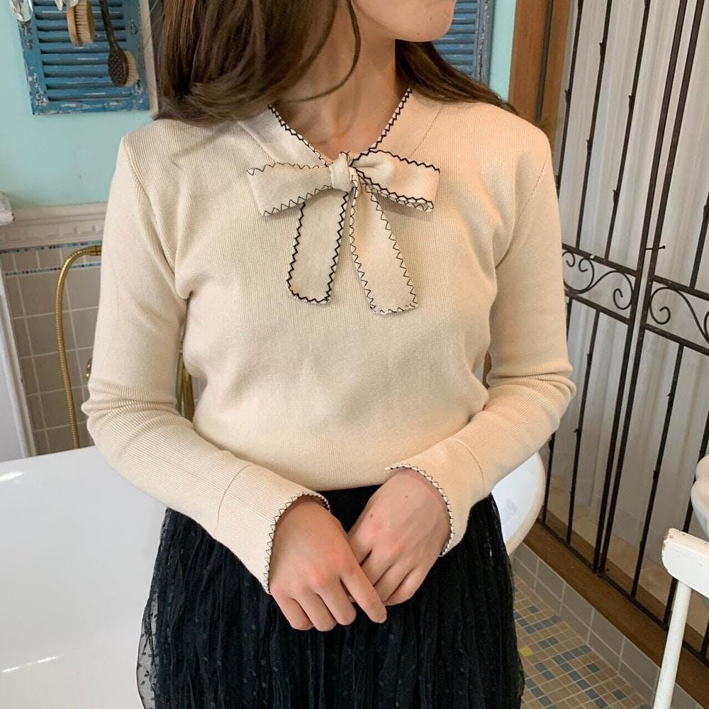 ribbon tie knit