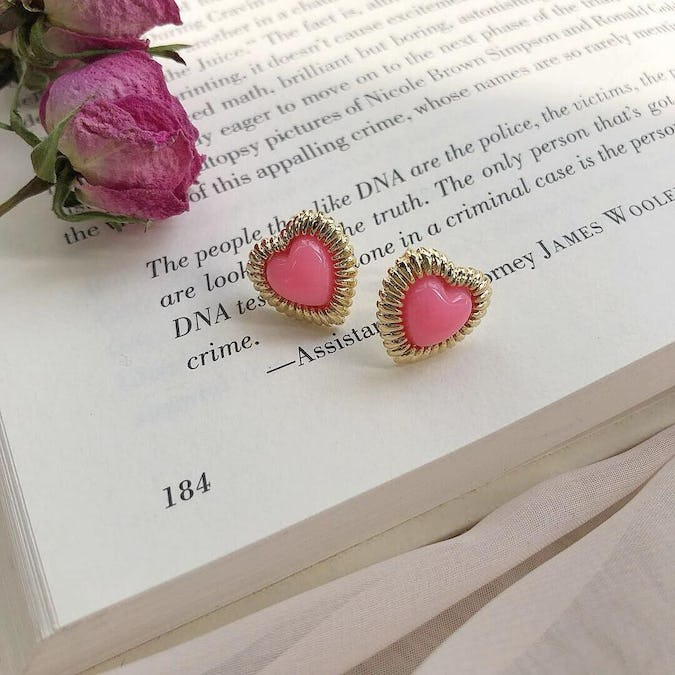 heart bling earring