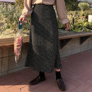 Aラインドットロングスカート