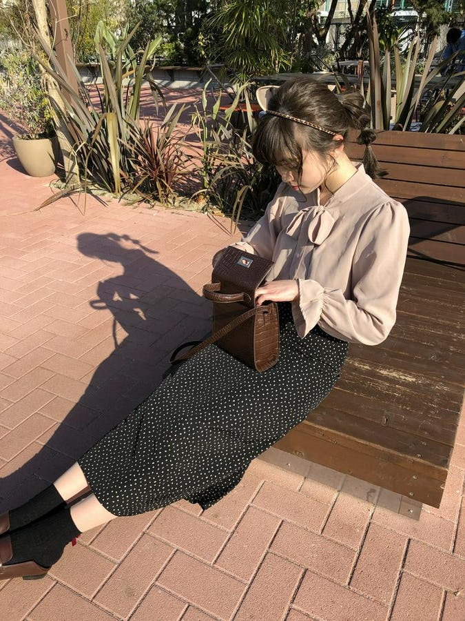 A line dot long skirt