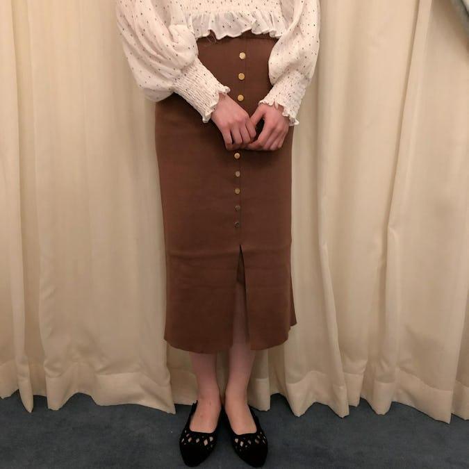 button knit skirt-0