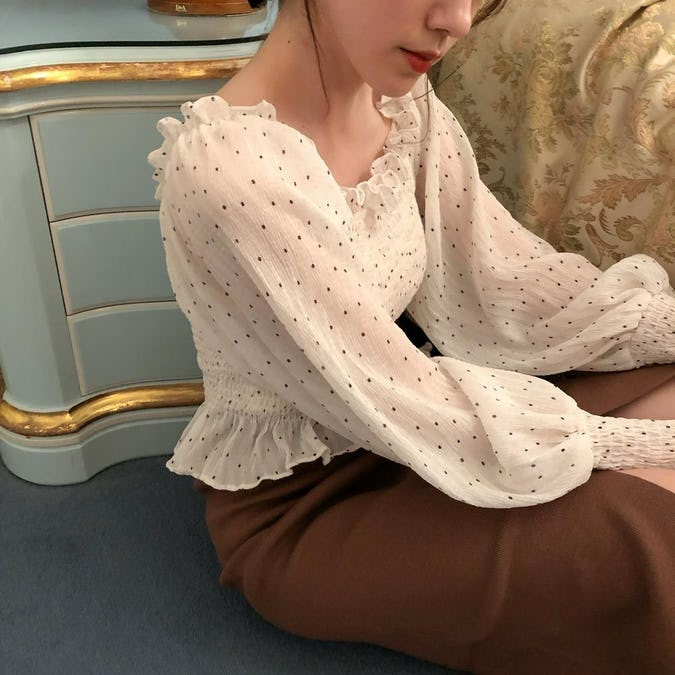 shirring dot blouse