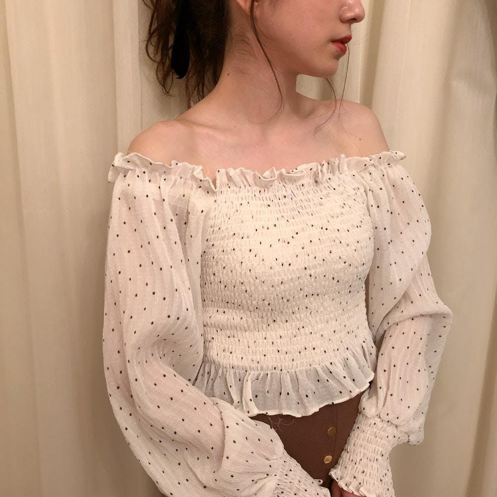 shirring dot blouse-0
