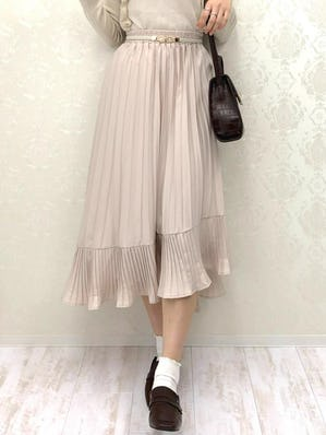 irregularhem pleats skirt