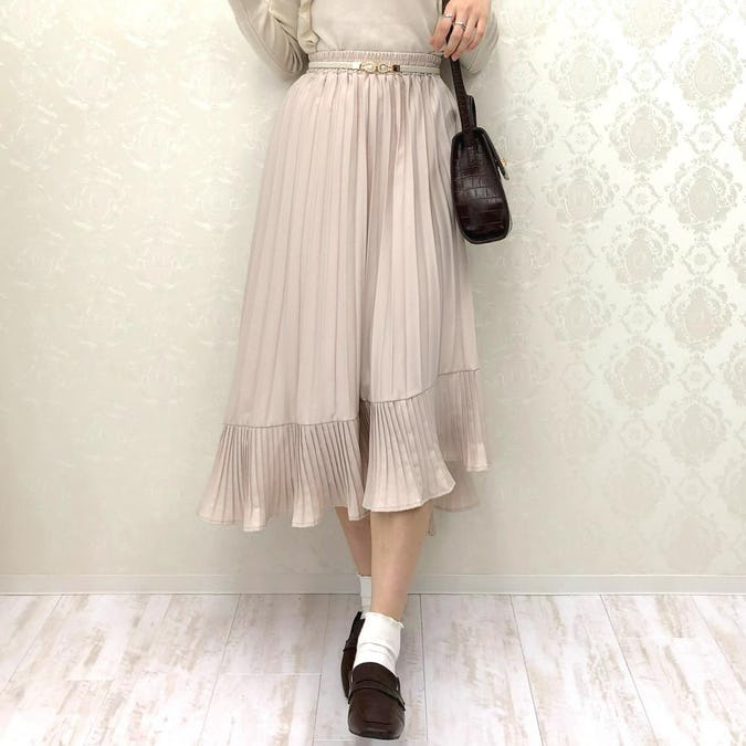irregularhem pleats long skirt-0