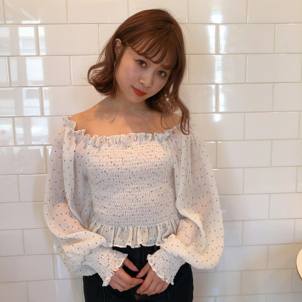 shirring dot blouse