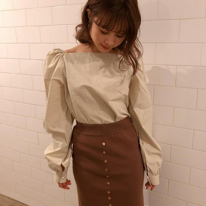 button knit skirt
