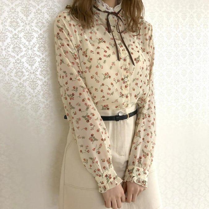 flower lace ribbon tie blouse-0