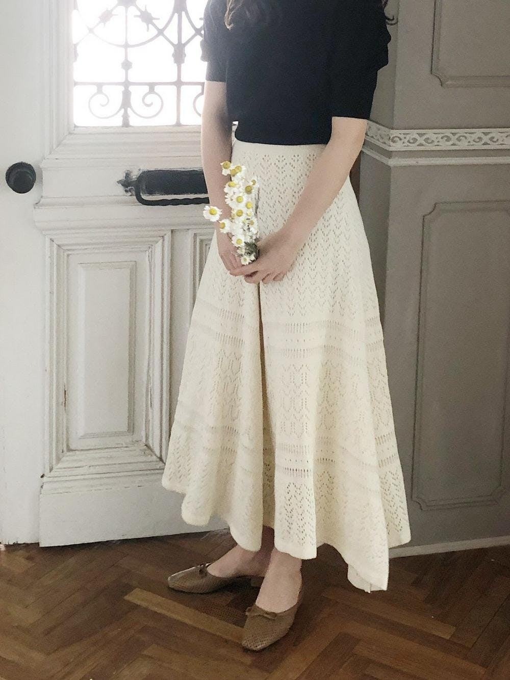 open work knit skirt
