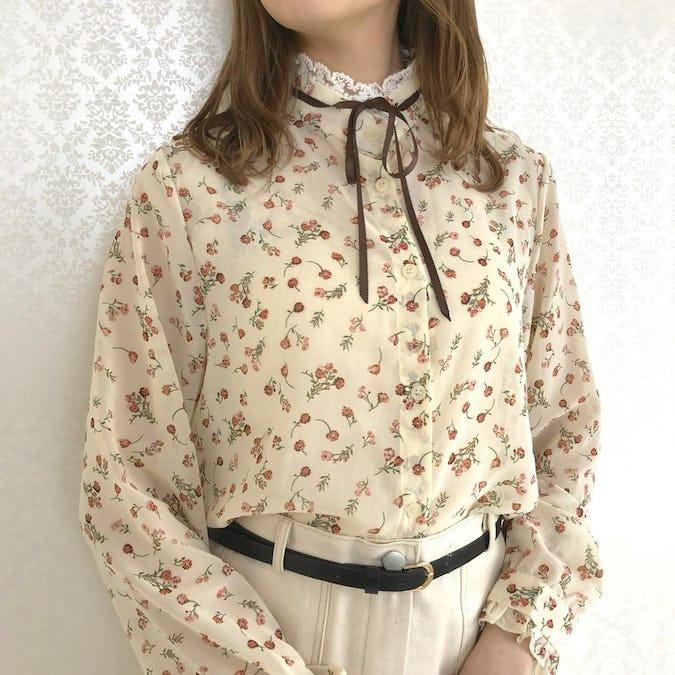 flower lace ribbon tie blouse
