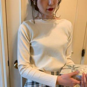 rib neck knit T