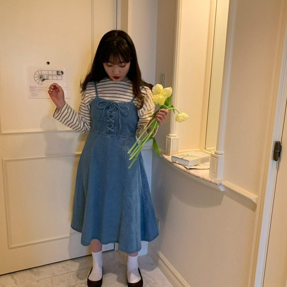 【5/21~順次発送】ribbon denim salopette