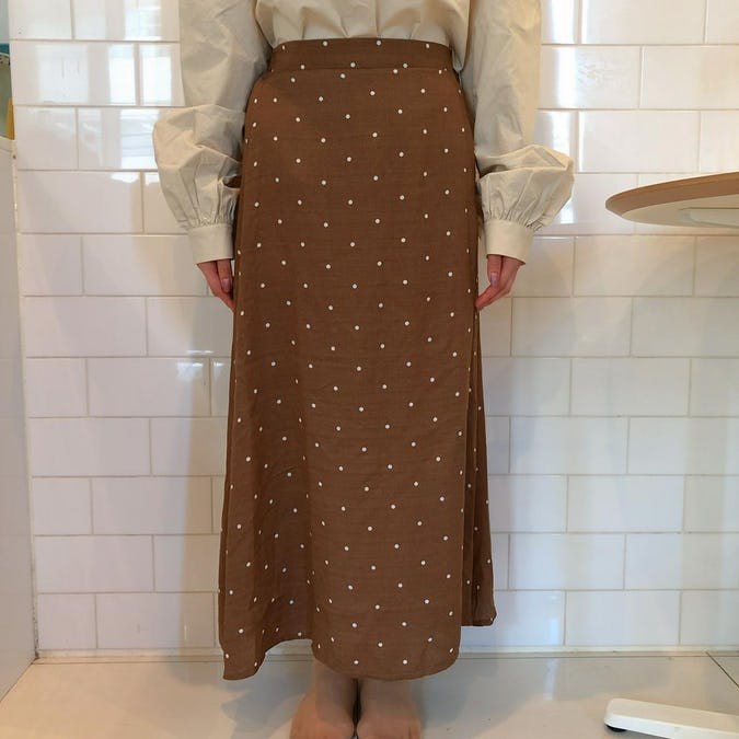 dot flare skirt
