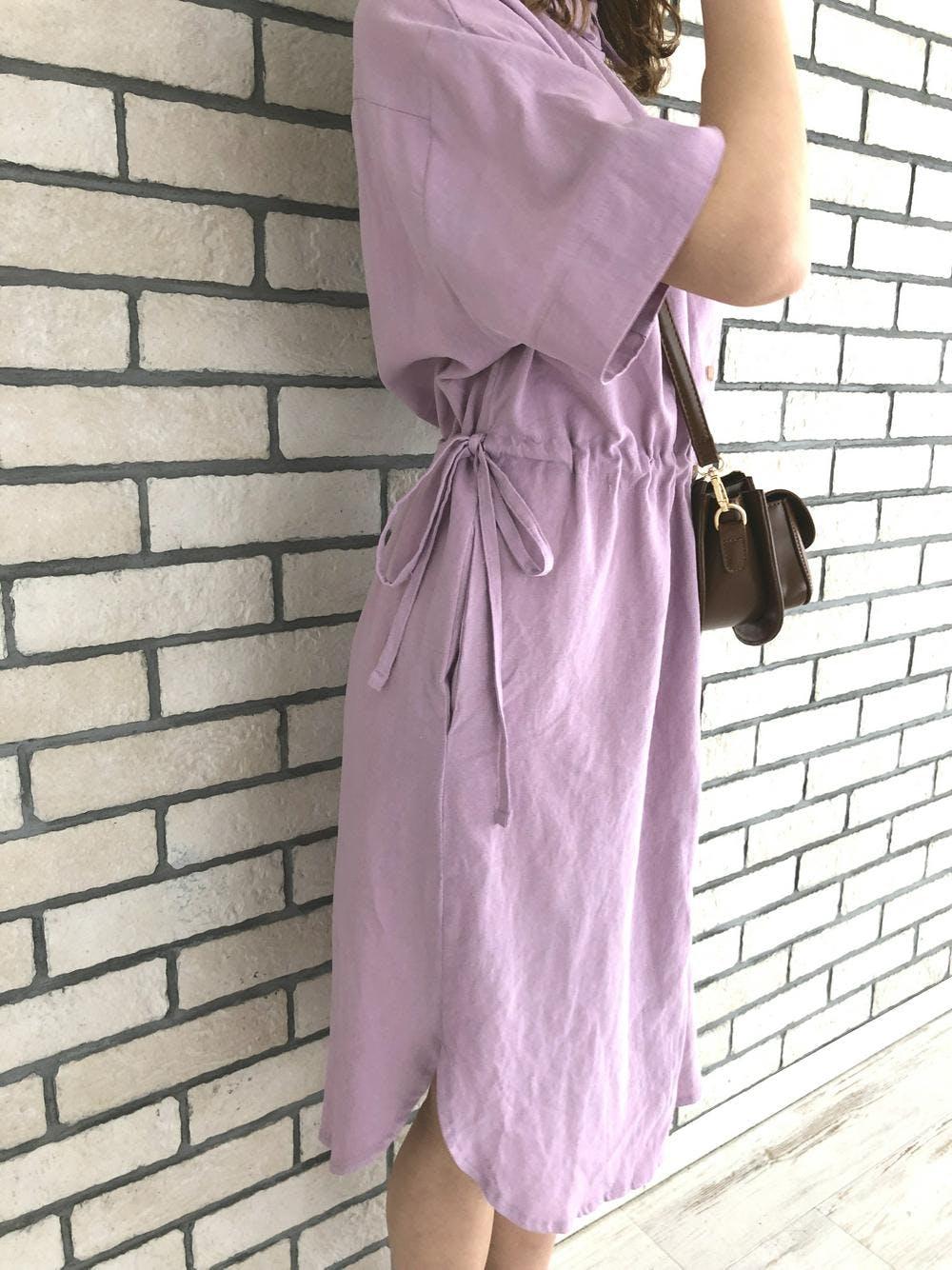 waist ribbon shirt onepiece