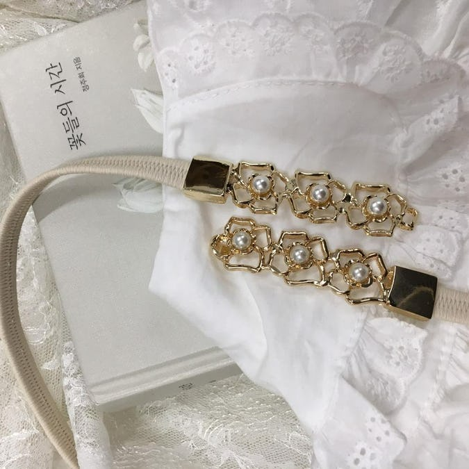 flower pearl belt
