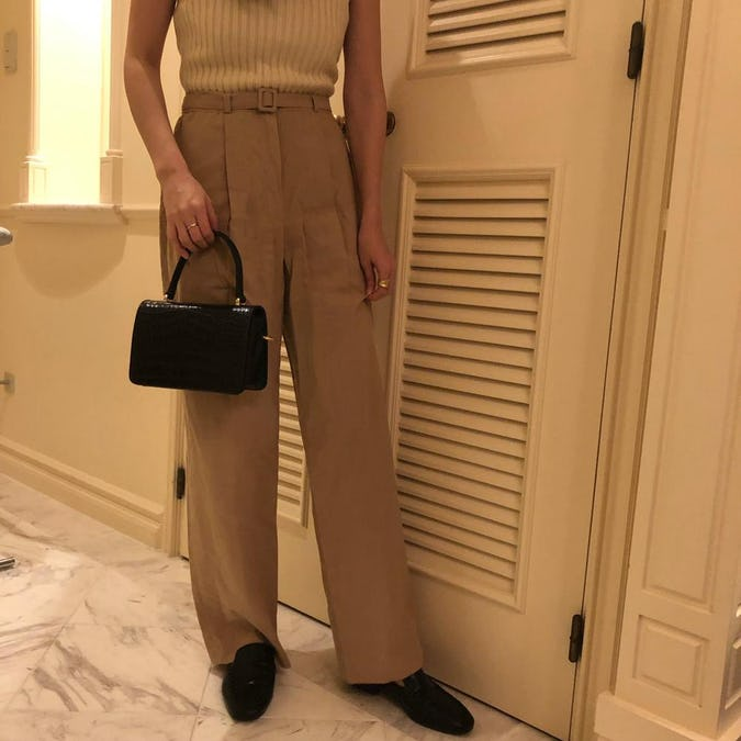 natural linen straight pants-0