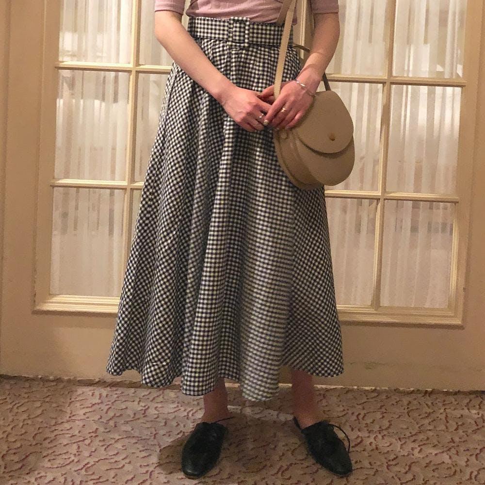 gingham flare belt skirt