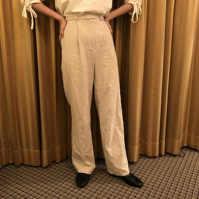 natural linen straight pants