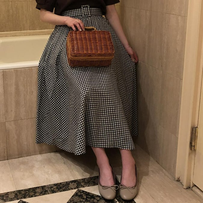 gingham flare belt skirt