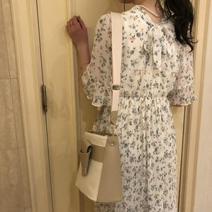 backribbon pleats flower onepiece