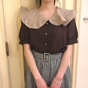 big frill bicolor blouse