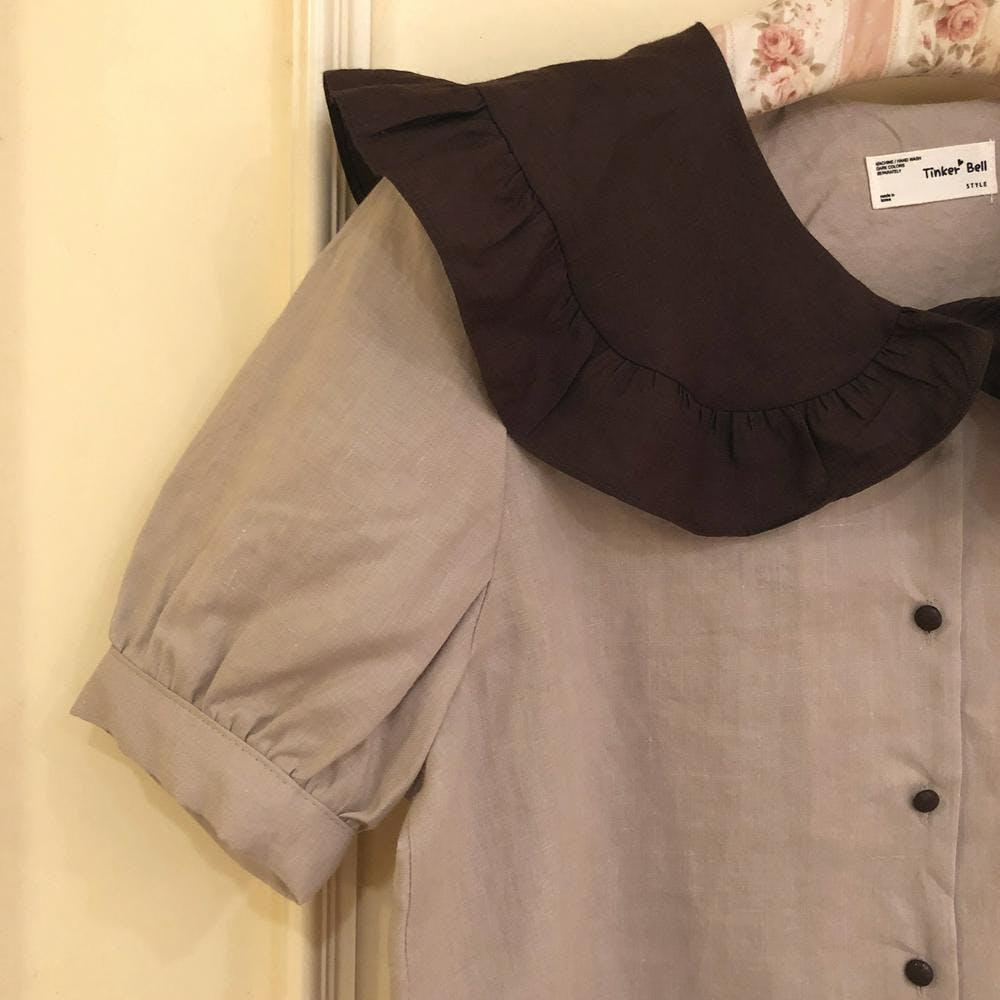 【5/21~順次発送】big frill bicolor blouse