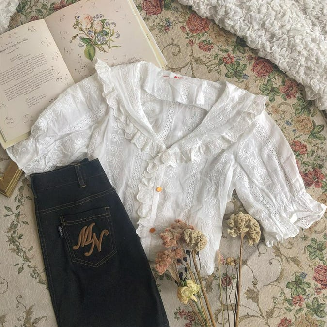 frill white blouse-0