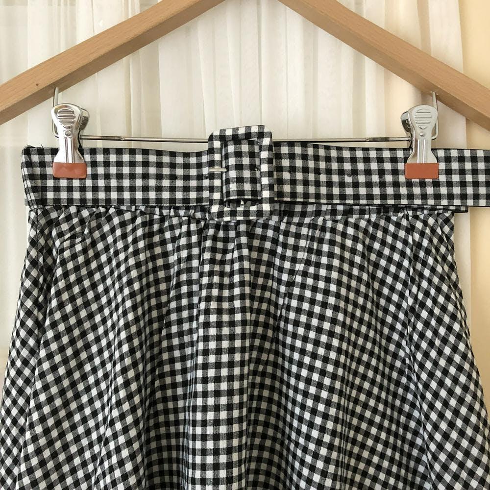 【5/21~順次発送】gingham flare belt skirt